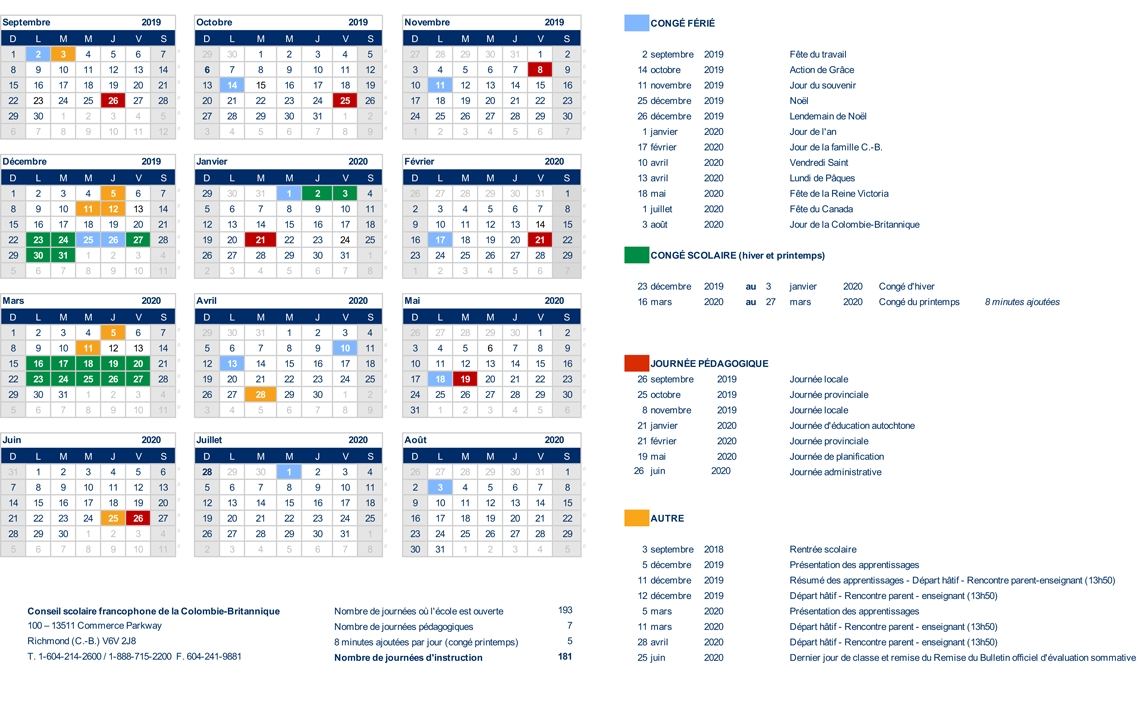 Calendrier Scolaire 20192020.Ecole Victor Brodeur
